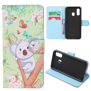 Pattern Printing Leather Wallet Case for Samsung Galaxy A40 - Koala