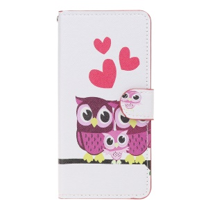 Pattern Printing Leather Wallet Stand Case for Samsung Galaxy A20/A30 - Hearts and Owls