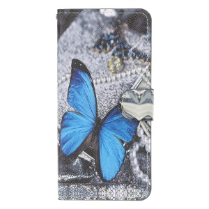 Pattern Printing Leather Wallet Case for Samsung Galaxy A50 - Blue Butterfly