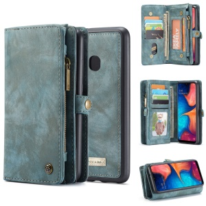 CASEME 008 Series for Samsung Galaxy A20/30 2-in-1 Multi-slot Wallet Vintage Split Leather Case - Blue