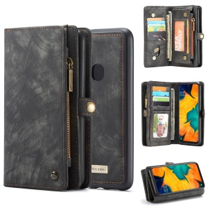 CASEME 008 Series for Samsung Galaxy A40 2-in-1 Multi-slot Wallet Vintage Split Leather Phone Cover - Black