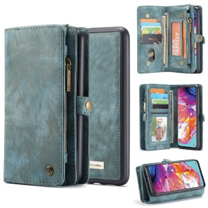 CASEME 008 Series for Samsung Galaxy A70 2-in-1 TPU Multi-slot Wallet Vintage Split Leather Case - Blue