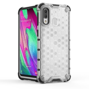 Honeycomb Shock Absorber TPU + PC Hybrid Back Mobile Casing Cover for Samsung Galaxy A40 - White