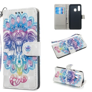 Light Spot Decor Patterned Leather Wallet Case for Samsung Galaxy A40 - Abstract Animal