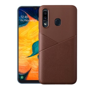 Business Style PU Leather Coated Soft TPU Phone Case for Samsung Galaxy A40 - Brown
