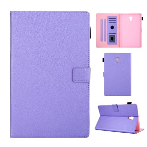 Lines Texture Card Slots Stand Leather Tablet Shell for Samsung Galaxy Tab A 10.5 (2018) SM-T590 / SM-T595 - Purple