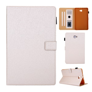 Lines Skin Card Slots Stand PU Leather Tablet Protective Case for Samsung Galaxy Tab A 10.1 (2016) - White
