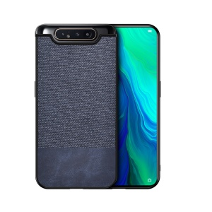 TPU+PU Leather+Cloth Phone Case for Samsung Galaxy A90 / A80 - PU Leather+Cloth/Dark Blue