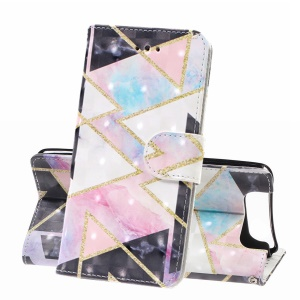 Light Spot Decor Pattern Printing Leather Wallet Stand Case for Samsung Galaxy A80 / A90 - Geometric Figure