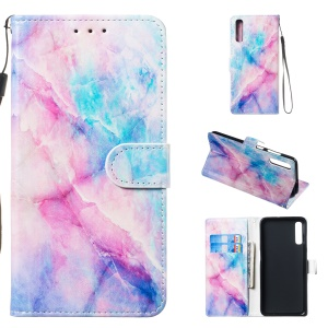 Anti-fall Pattern Printing Stand Wallet Leather Protective Case with Strap for Samsung Galaxy A70 - Colorful Stone Grain