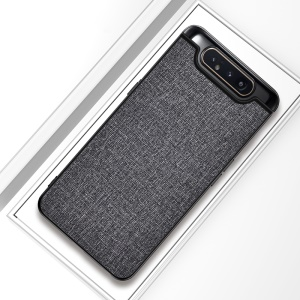 Matte Cloth PU + PC + TPU Hybrid Cell Phone Casing for Samsung Galaxy A80 - Grey