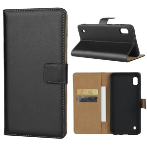 Genuine Leather Wallet Phone Cover for Samsung Galaxy A10/M10 - Black