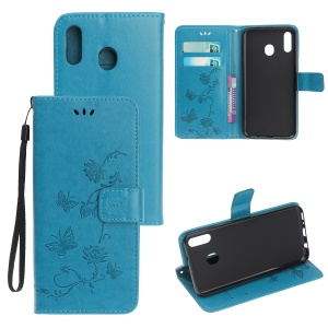 Imprint Butterfly Flowers Leather Wallet Case for Samsung Galaxy A20e - Blue