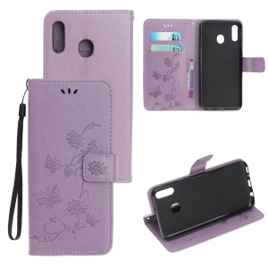 Imprint Butterfly Flowers Leather Wallet Case for Samsung Galaxy A20e - Light Purple