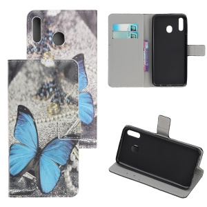 Pattern Printing Flip Leather Wallet Phone Case for Samsung Galaxy A20e - Blue Butterfly