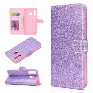 Flash Powder Leather Wallet Phone Case for  Samsung Galaxy A20e - Purple