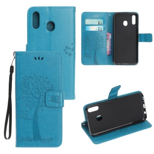 Imprint Tree+Owl Leather Wallet Phone Case for Samsung Galaxy A20e - Blue