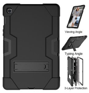 Shock Proof TPU + PC Hybrid Tablet Protective Case with Kickstand for Samsung Galaxy Tab S5e SM-T720 / SM-T725 - All Black