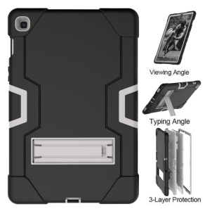 Shock Proof TPU + PC Hybrid Tablet Protective Case with Kickstand for Samsung Galaxy Tab S5e SM-T720 / SM-T725 - Black / Silver