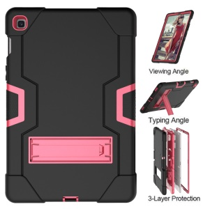 Shock Proof TPU + PC Hybrid Tablet Protective Case with Kickstand for Samsung Galaxy Tab S5e SM-T720 / SM-T725 - Black / Rose