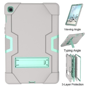 Shock Proof TPU + PC Hybrid Tablet Protective Case with Kickstand for Samsung Galaxy Tab S5e SM-T720 / SM-T725 - Grey / Cyan