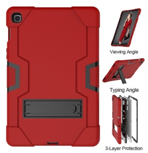 Shock Proof TPU + PC Hybrid Tablet Protective Case with Kickstand for Samsung Galaxy Tab S5e SM-T720 / SM-T725 - Red / Black