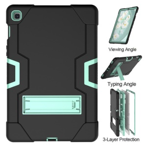 Shock Proof TPU + PC Hybrid Tablet Protective Case with Kickstand for Samsung Galaxy Tab S5e SM-T720 / SM-T725 - Black / Cyan