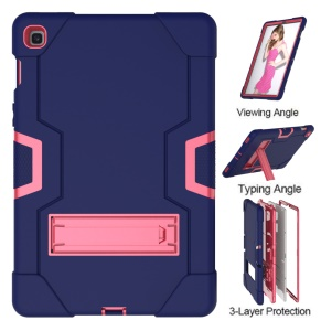 Shock Proof TPU + PC Hybrid Tablet Protective Case with Kickstand for Samsung Galaxy Tab S5e SM-T720 / SM-T725 - Dark Blue / Rose