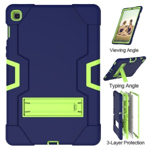 Shock Proof TPU + PC Hybrid Tablet Protective Case with Kickstand for Samsung Galaxy Tab S5e SM-T720 / SM-T725 - Dark Blue / Green