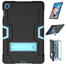 Shock Proof TPU + PC Hybrid Tablet Protective Case with Kickstand for Samsung Galaxy Tab S5e SM-T720 / SM-T725 - Black / Baby Blue