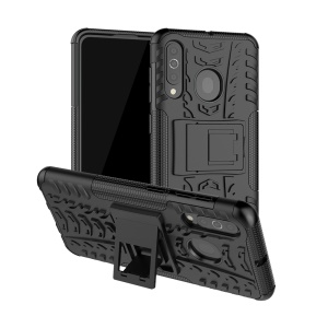 Cool Style Kickstand PC + TPU Hybrid Phone Case for Samsung Galaxy A60 - Black