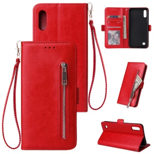 For Samsung Galaxy A10 Zipper Leather Purse Phone Case Cover - Red