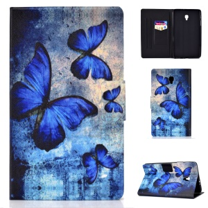 Pattern Printing Card Holder Stand PU Leather Tablet Case for Samsung Galaxy Tab A 8.0 (2017) SM-T380 / SM-T385 - Blue Butterflies