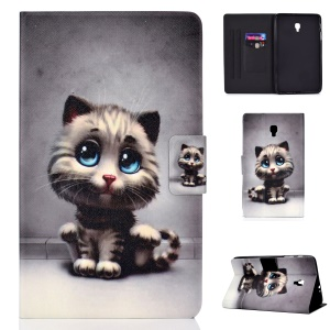 Pattern Printing Card Holder Stand PU Leather Tablet Case for Samsung Galaxy Tab A 8.0 (2017) SM-T380 / SM-T385 - Cat with Blue Eyes