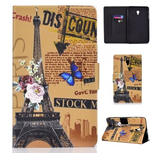 Pattern Printing Card Holder Stand PU Leather Tablet Case for Samsung Galaxy Tab A 8.0 (2017) SM-T380 / SM-T385 - Eiffel Tower