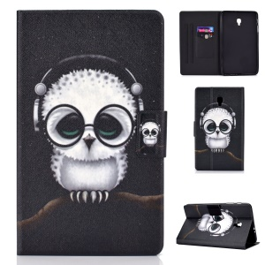 Pattern Printing Card Holder Stand PU Leather Tablet Case for Samsung Galaxy Tab A 8.0 (2017) SM-T380 / SM-T385 - Owl Wearing Headphones