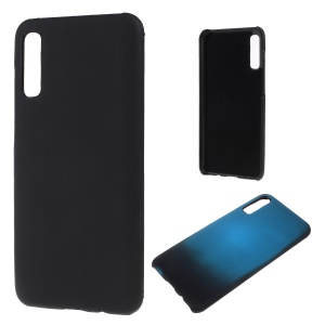 Thermal Induction Fluorescent Color Changing PU Leather Coated PC Back Cover for Samsung Galaxy A50/A50s/A30s- Black