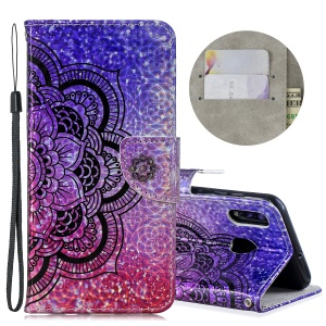Laser Carving Pattern Printing Leather Wallet Stand Protective Casing with Strap for Samsung Galaxy A20 / A30 - Flower