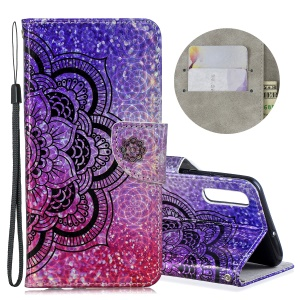 Laser Carving Pattern Printing Wallet Stand Flip Leather Case with Strap for Samsung Galaxy A50 - Flower