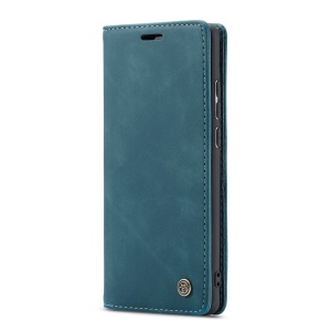 CASEME 013 Series Auto-absorbed Leather Wallet Phone Cover for Samsung Galaxy M20 - Blue