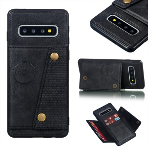 PU Leather Coated TPU Card Holder Mobile Phone Cover [Built-in Vehicle Magnetic Sheet] for Samsung Galaxy S10 - Black