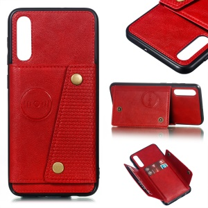 Leather Card Holder Magnetic Car Phone Holder Case for Samsung Galaxy A50/A50s/A30s  - Red