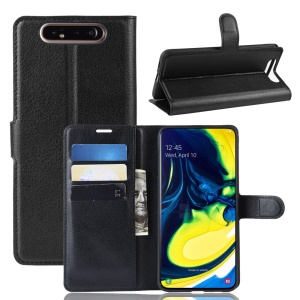 Litchi Skin Wallet Leather Stand Case for Samsung Galaxy A80/A90 - Black