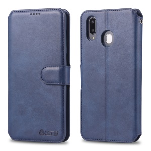 AZNS Wallet Leather Stand Case for Samsung Galaxy M20 - Blue