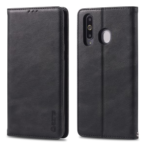 AZNS Retro Style PU Leather Card Holder Case for Samsung Galaxy M30/A40s - Black