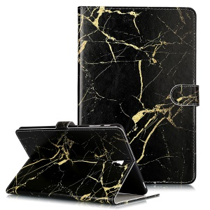 Pattern Printing Wallet Stand Flip Leather Tablet Case for Samsung Galaxy Tab S4 10.5 SM-T830/T835/T837- Black Stone Grain