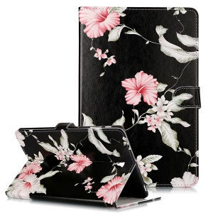 Pattern Printing Wallet Stand Flip Leather Tablet Case for Samsung Galaxy Tab S4 10.5 SM-T830/T835/T837- Red Flowers