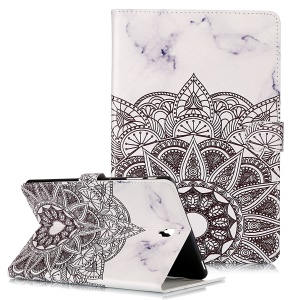 Pattern Printing Wallet Stand Flip Leather Tablet Case for Samsung Galaxy Tab S4 10.5 SM-T830/T835/T837- Mandala Flower and Marble Grain
