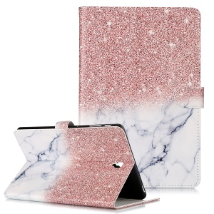 Pattern Printing Wallet Stand Flip Leather Tablet Case for Samsung Galaxy Tab S4 10.5 SM-T830/T835/T837- Glittery Element and White Marble Grain