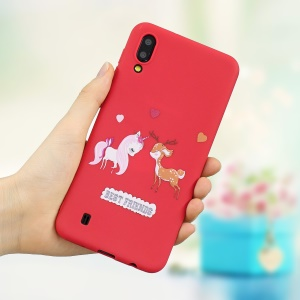 Printing Style Matte Soft TPU Phone Case for Samsung Galaxy M10 - Red / Unicorn and Deer